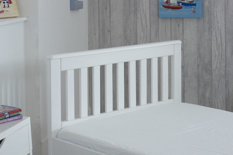 Mission Low Single Storage White Wooden Bed Frame