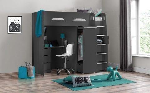 Storage High Sleeper in Dark Grey-0