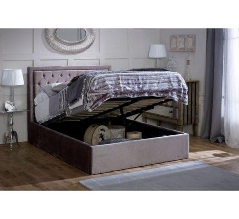 Hera Ottoman Bed Frame Plush Silver -3662