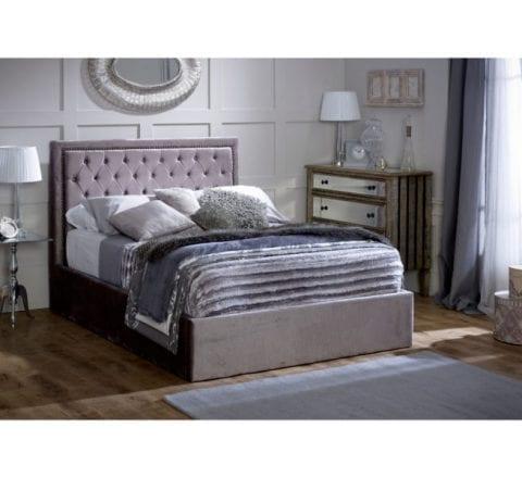 Hera Ottoman Bed Frame Plush Silver -0