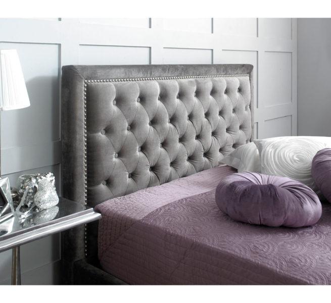 Hera Ottoman Bed Frame Plush Silver -3663