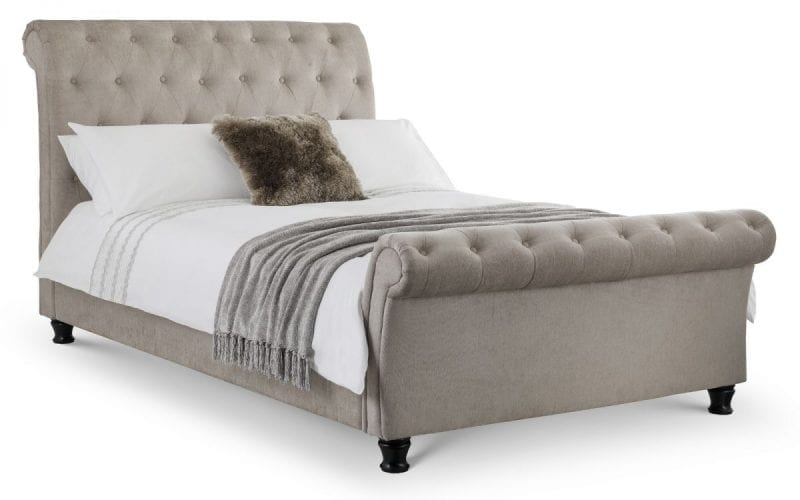 RAV Deep buttoned scroll bed in wool mink -0
