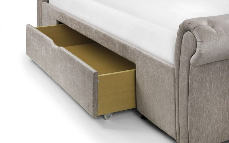RAV 2 Drawer deep buttoned scroll bed in mink -3799