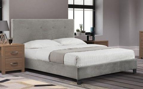Shore high headboard bedframe in slate grey velvet -3786
