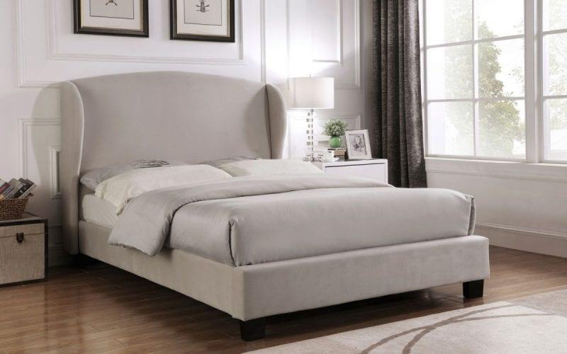 BLE Winged fabric bedframe in grey velvet -0