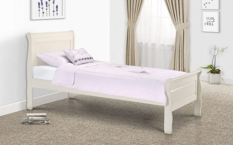 Off White Wooden Sleigh Bedframe -3814