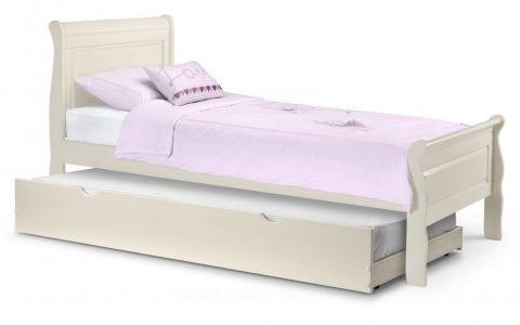 Off White Wooden Sleigh Bedframe -3816