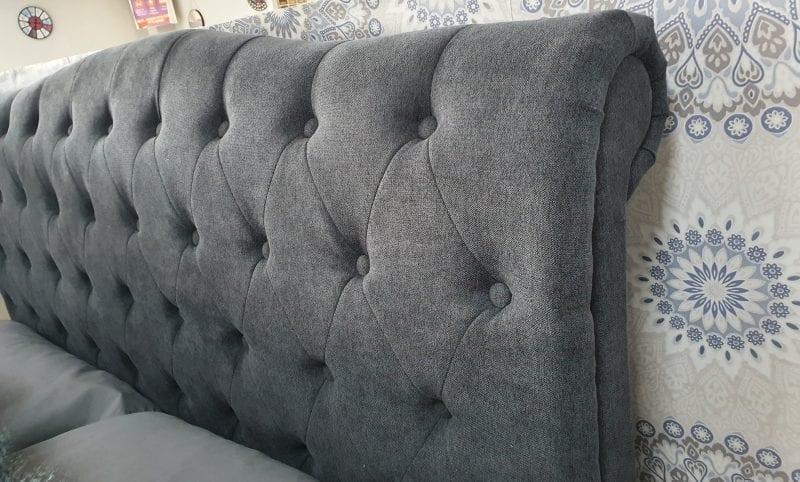 Aurora Fabric Sleigh in Dark grey LB60 -3676