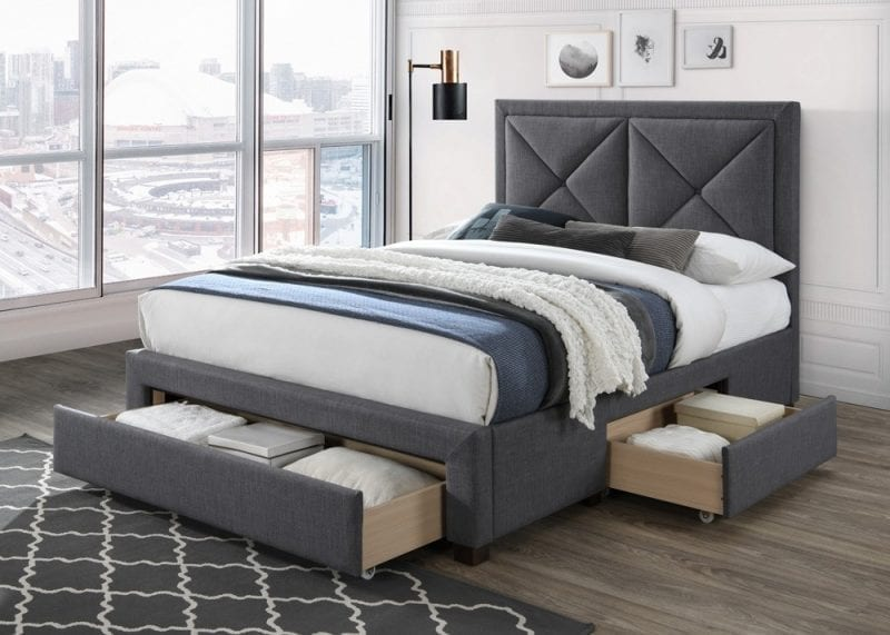 LB51 3 drawer fabric bedframe in dark grey -0