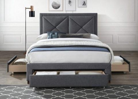 LB51 3 drawer fabric bedframe in dark grey -3751