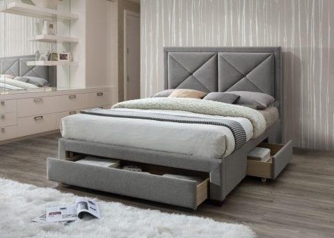 LB51 3 drawer fabric bedframe in Wool Grey -0