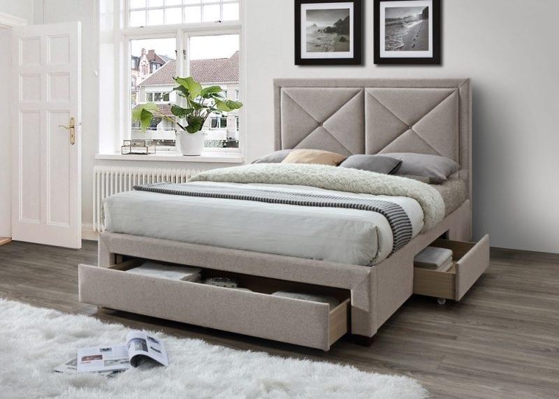 LB51 3 drawer fabric bedframe in mink velvet-0