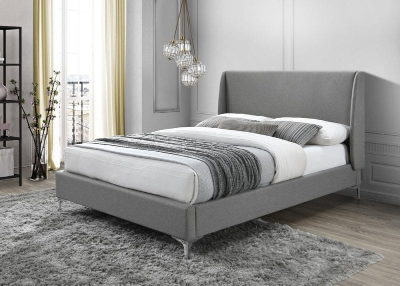 LB59 Fabric bedframe in grey -0