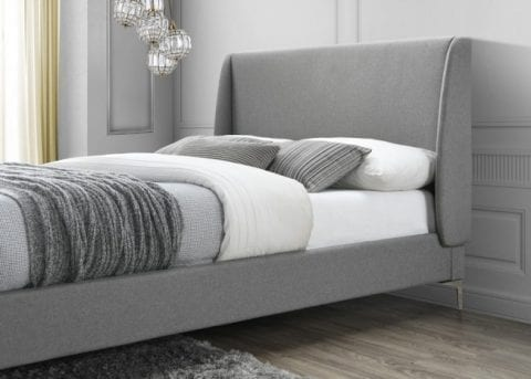 LB59 Fabric bedframe in grey -3739