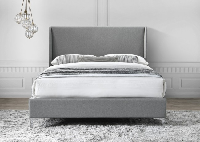LB59 Fabric bedframe in grey -3737