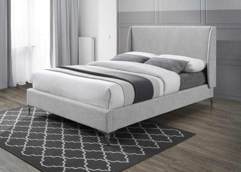LB59 fabric bedframe in light grey -0