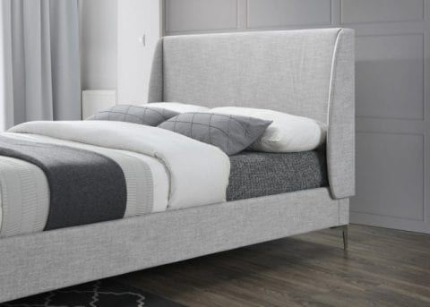 LB59 fabric bedframe in light grey -3742