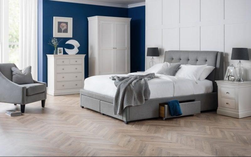 FUL 4 Drawer grey linen bedframe -0