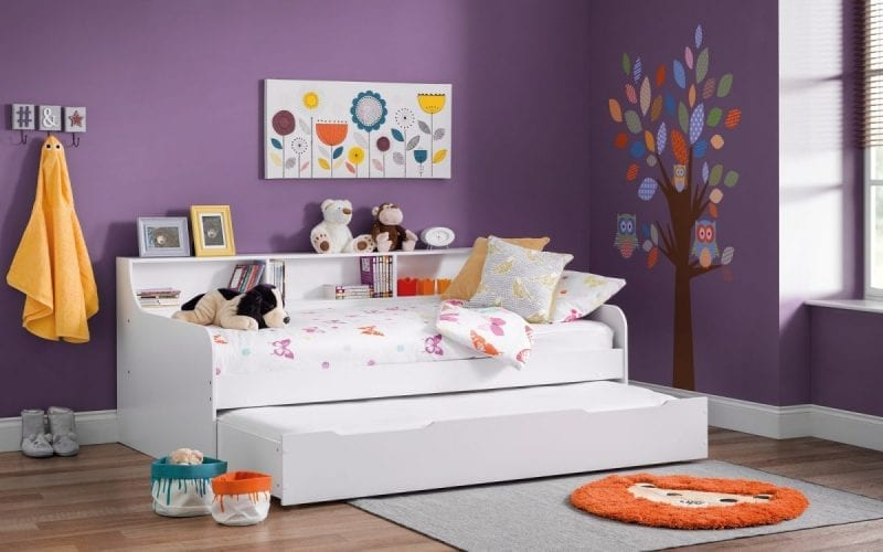 Crisp White Day bed with shelves -3839