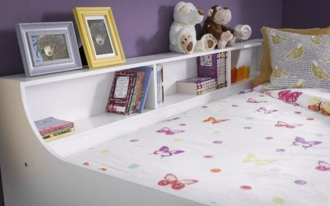 Crisp White Day bed with shelves -3838