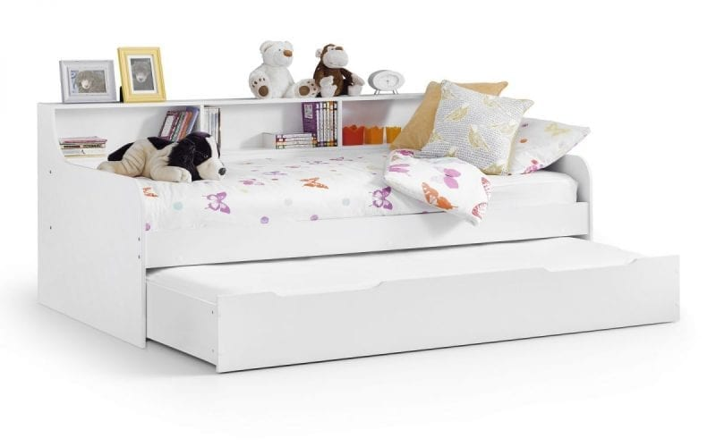 Crisp White Day bed with shelves -3840
