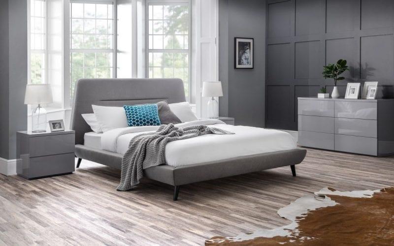 Modern fabric bedframe in grey linen -0