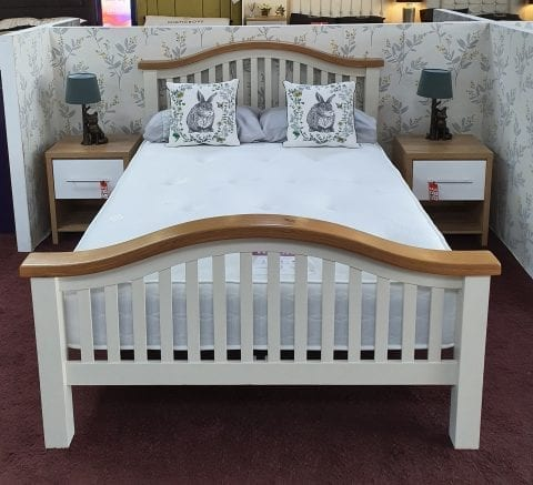 Maine cream and oak chunky curved bedframe -0