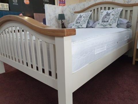 Maine cream and oak chunky curved bedframe -3771