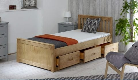 Mission 3 drawer bed in Distressed Wax -0