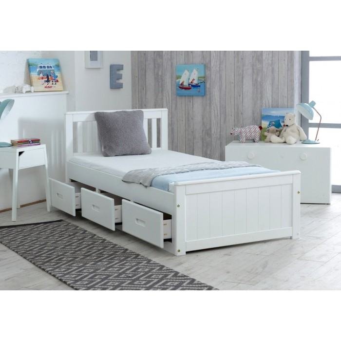 Mission 3 Drawer Bed in Brilliant White -0