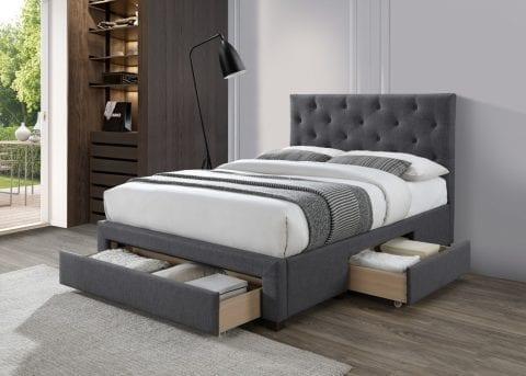 LB52 3 drawer fabric bedframe in dark grey -0