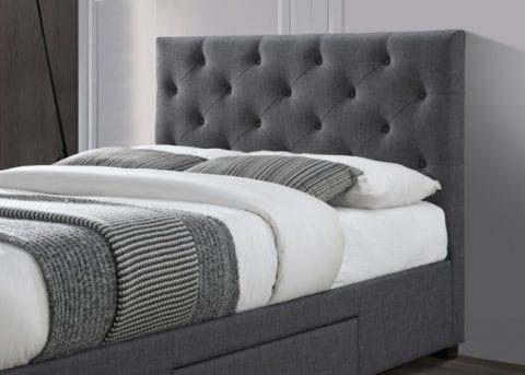 LB52 3 drawer fabric bedframe in dark grey -3757