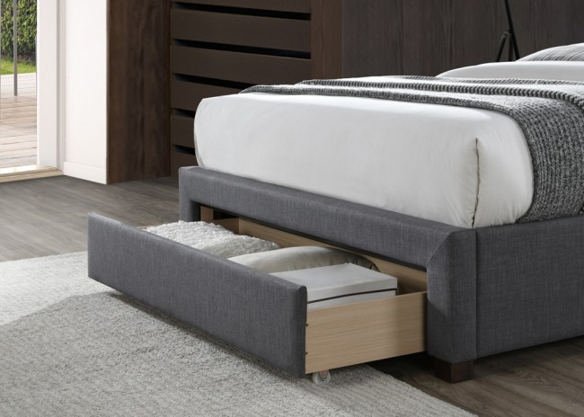 LB52 3 drawer fabric bedframe in dark grey -3756