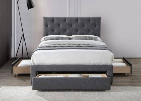 LB52 3 drawer fabric bedframe in dark grey -3754