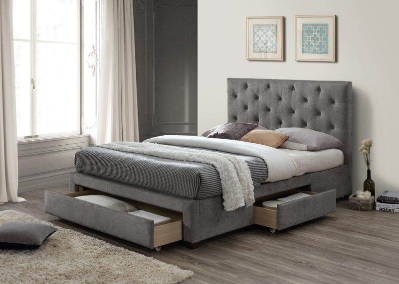 LB52 3 drawer fabric bedframe in wool grey-0