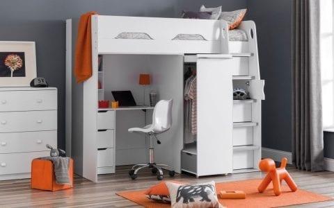 Storage High Sleeper in White-0