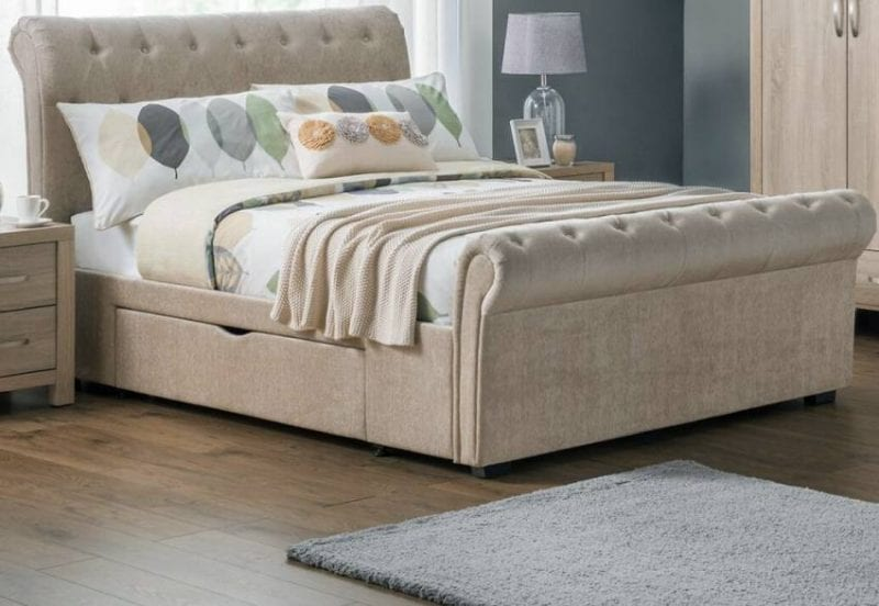 RAV 2 Drawer deep buttoned scroll bed in mink -0