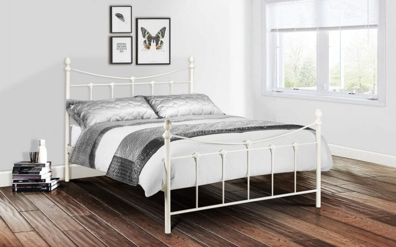 Becky Metal Bedframe in Stone White -0