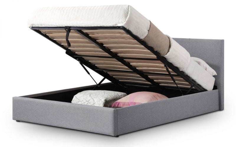 RIA Lift up storage bed in grey fabric -0