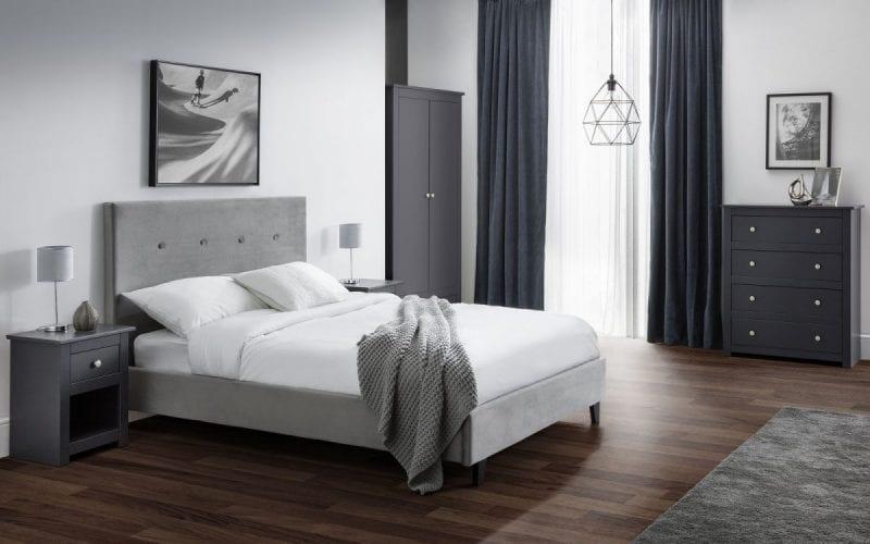 Shore high headboard bedframe in slate grey velvet -0