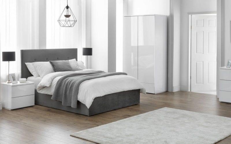 Shore Ottoman bedframe in grey slate velvet -0