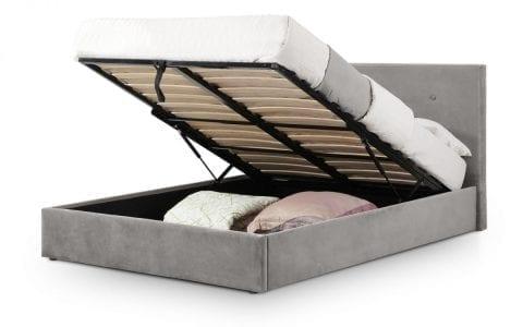 Shore Ottoman bedframe in grey slate velvet -3785