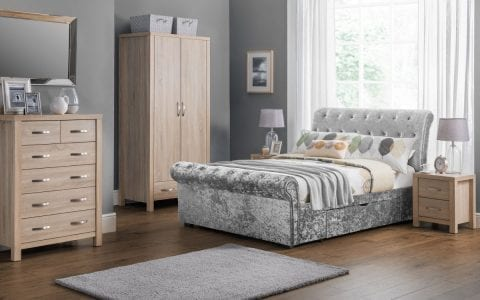Deep Buttoned scroll bed in crushed silver -0