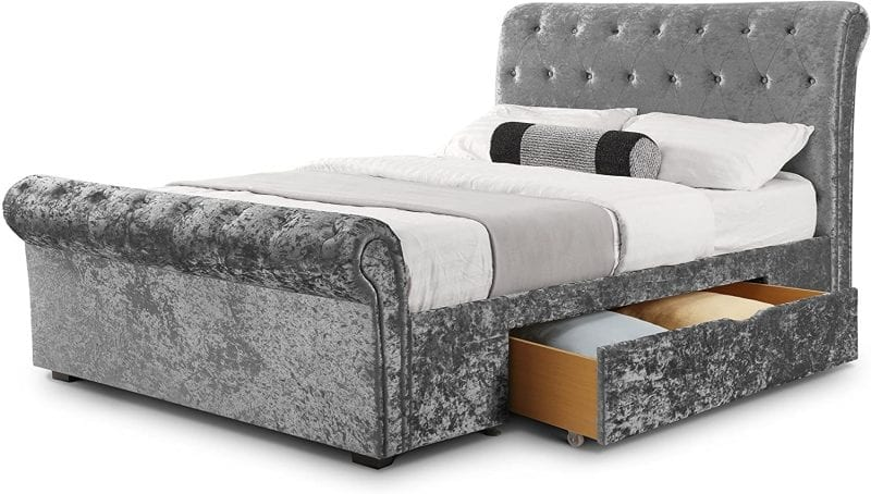 Deep Buttoned scroll bed in crushed silver -3802