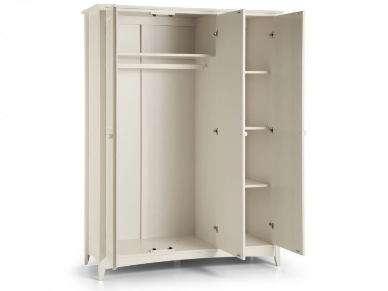 Cameo 3 Door Wardrobe in Stone White -4081