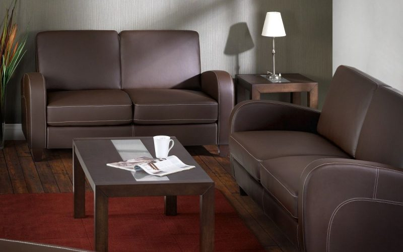 Vivianne Sofa bed in Brown Faux Leather -0