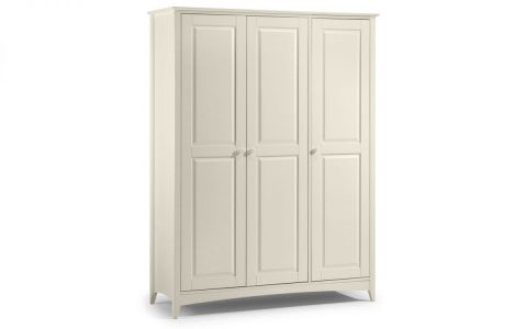 Cameo 3 Door Wardrobe in Stone White -4079