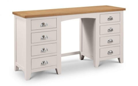 Richmond Grey and Oak Double Pedestal Dressing Table -0