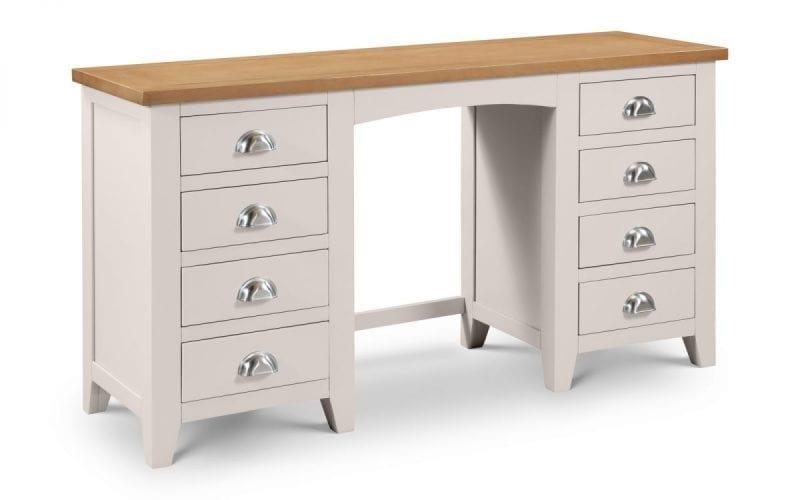 Richmond Grey and Oak Double Pedestal Dressing Table -0