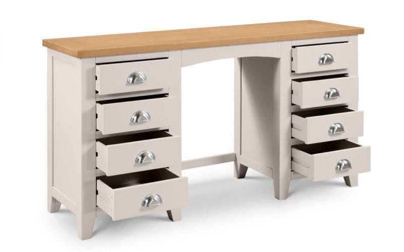 Richmond Grey and Oak Double Pedestal Dressing Table -3990